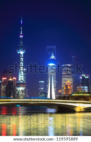 beautiful shanghai at night view from suzhou river