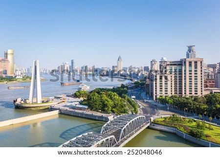 beautiful shanghai in afternoon , huangpu river with garden bridge and the bund   #252048046