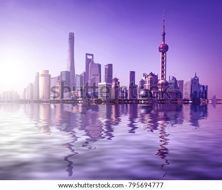 beautiful shanghai lujiazui financial center aside the huangpu river. #795694777