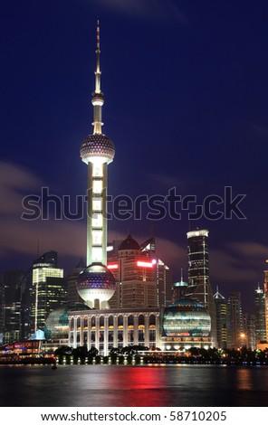 Beautiful Shanghai Pudong skyline at night in Shanghai, China