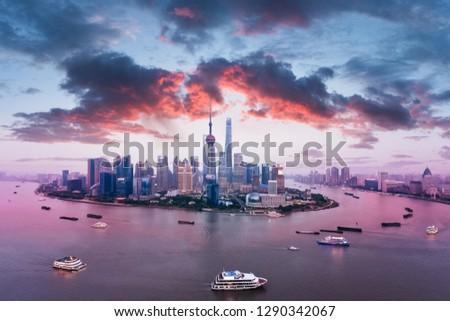 beautiful shanghai skyline, pudong financial center and huangpu river  #1290342067