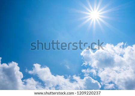Beautiful shining sun at clear blue sky. #1209220237