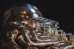 Beautiful shiny euphonium on a dark background. Beautiful brass instrument.
