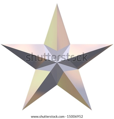 Beautiful shiny star isolated on white - stock photo