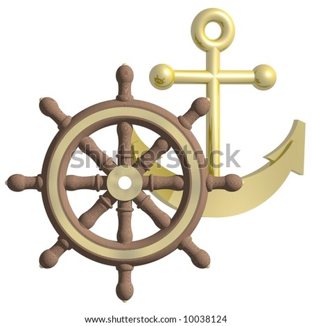 Beautiful ship anchor and steering wheel isolated on white - stock photo
