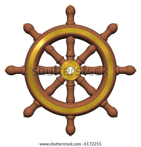 Beautiful ship's wheel isolated on white