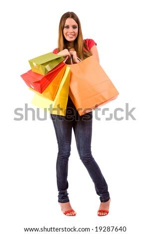 Beautiful shopping girl with bags.