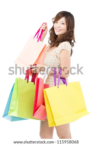 Beautiful shopping woman on white background. Portrait of asian.