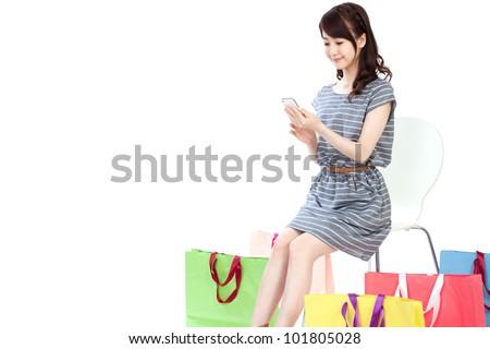 Beautiful shopping woman. Portrait of asian woman.