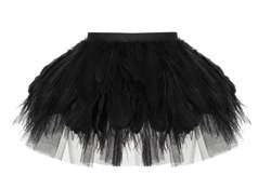 Beautiful short puffy black peplum skirt with feathers and chiffon, ghost mannequin isolated on a white background