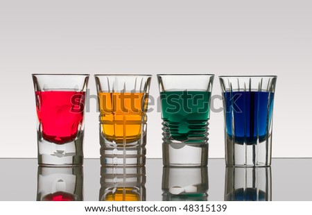 Beautiful shot glasses back lit