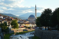 Beautiful shot of Prizren, Kosovo in the late afternoon. The drin river runs through this old characteristic city.