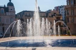 Beautiful showy fountain at sunny day in Batumi