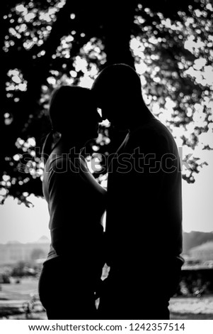 beautiful silhouette of lovers #1242357514