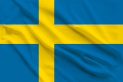 Beautiful silk flag of Sweden with soft folds in the wind