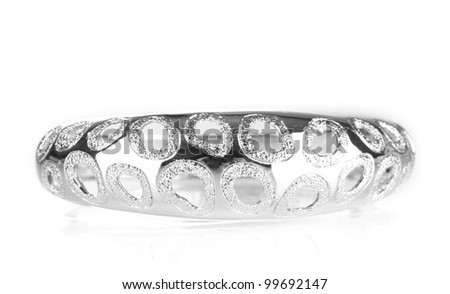 Beautiful silver bracelet isolated on white