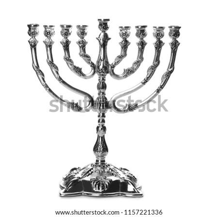 Beautiful silver hanukkah menorah on white background #1157221336