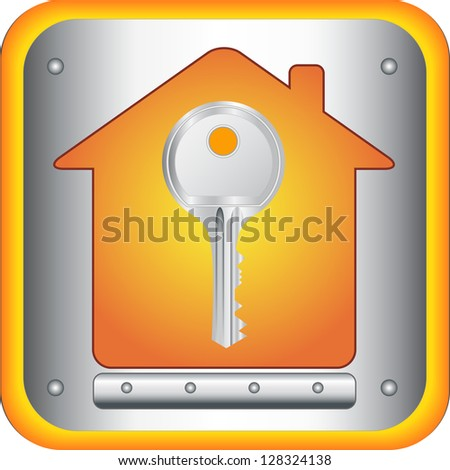 beautiful silver key on house silhouette background