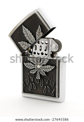 Beautiful silver petrol lighter on a white background