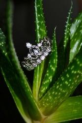 Beautiful Silver Princess Crown Wedding Engagement Ring