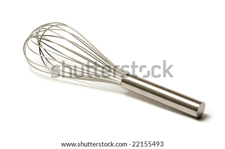 beautiful silver whisk over a white background