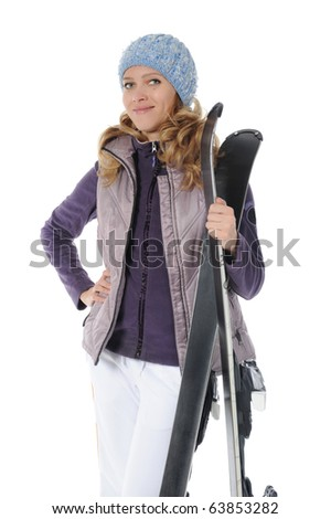 Beautiful skier holding ski in the hands. Isolated on white background