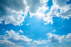 beautiful skies with sun and clouds. Sky background.