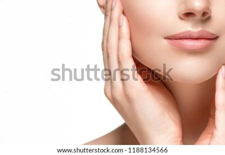 Beautiful skin face closeup woman isolated on white #1188134566