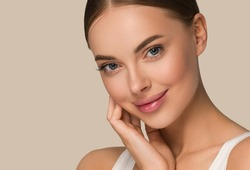 Beautiful skin woman face healthy beauty skin care female model