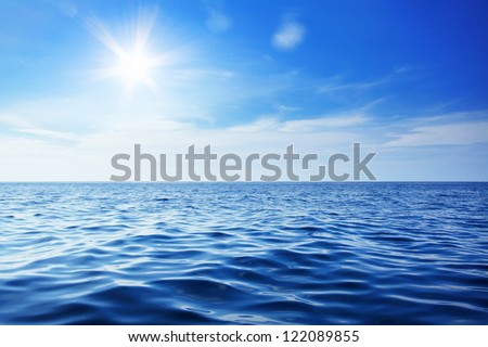 stock photo beautiful sky and blue ocean 122089855 - Каталог — Фотообои «Море, пляж»