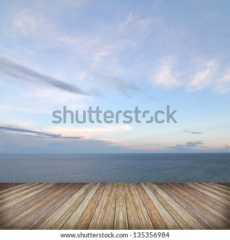 Beautiful sky and ocean with wooden berth