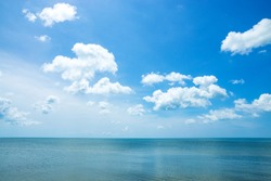 Beautiful sky and sea with white clouds.