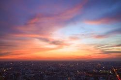 Beautiful Sky at Bangkok city (Thailand), Bangkok at night time. Colorful Sunset with CityScape at Bangkok.