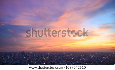 Beautiful Sky at Bangkok city (Thailand), Bangkok at night time. Colorful Sunset with CityScape at Bangkok. #1097042510
