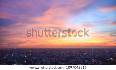 Beautiful Sky at Bangkok city (Thailand), Bangkok at night time. Colorful Sunset with CityScape at Bangkok. #1097042516