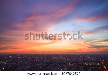 Beautiful Sky at Bangkok city (Thailand), Bangkok at night time. Colorful Sunset with CityScape at Bangkok. #1097042522