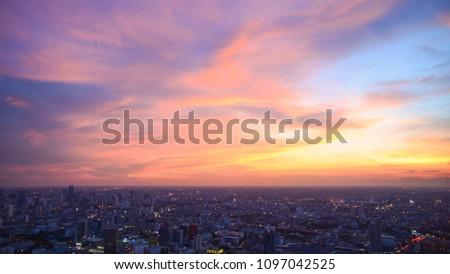 Beautiful Sky at Bangkok city (Thailand), Bangkok at night time. Colorful Sunset with CityScape at Bangkok. #1097042525