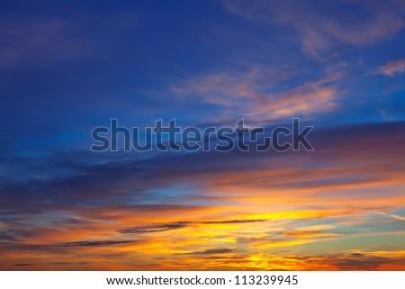 Beautiful sky at sunrise. Nature composition