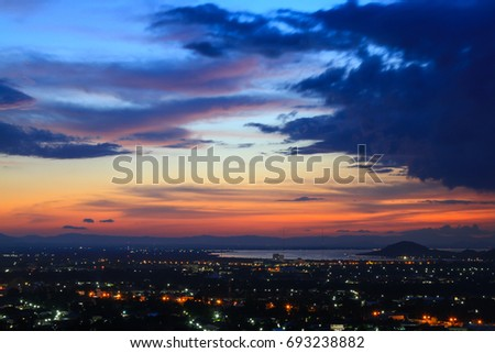 Beautiful sky at twilight times and the night city #693238882