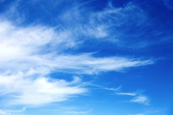 Beautiful sky background. Unusual cirrus clouds in the blue sky