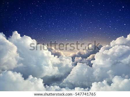 Beautiful sky background with large clouds  #547741765