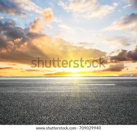 Beautiful sky cloud and asphalt road landscape #709029940