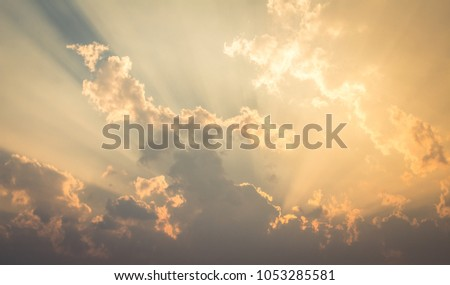 Beautiful sky evening Golden cloud Suset #1053285581