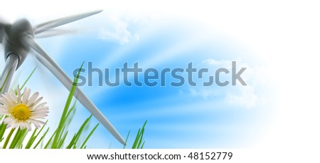 beautiful sky, flower and wind turbine during a sunny day - background - image is isolated on white - to be used on bottom left of a page
