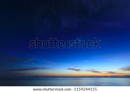 Beautiful sky on twilight time and reflection on the sea