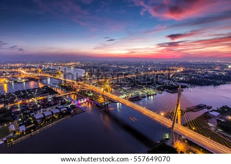 Beautiful sky view of Bhumibol Bridge in Bangkok city, Thailand. #557649070