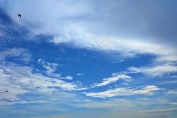 Beautiful sky view, some white clouds floating after the rain, open sky, birds fly out for food, tell of freedom coming