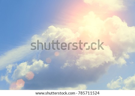 Beautiful sky with clouds and sunlight