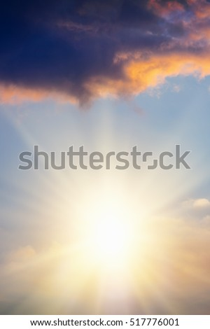 Beautiful sky with clouds at sunset or sunrise #517776001
