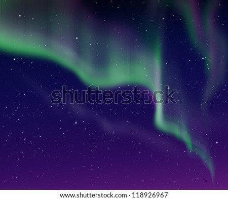 beautiful sky with green aurora in the night. - stock photo